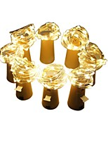 abordables -2m luces de cadena # leds cálidas baterías decorativas de 3v blancas alimentadas 8pcs