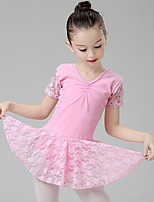 cheap -Ballet Dresses Girls' Training Performance Cotton Lace Ruching Short Sleeves Natural Dress
