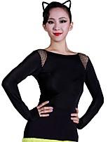 abordables -Danse latine justaucorps Femme Entraînement Soie Glacée Dentelle Manches Longues Collant / Combinaison