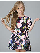 cheap -Girl's Daily Holiday Floral Dress, Cotton Polyester Spring Fall Half Sleeves Cute Active Blushing Pink