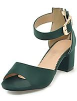 Недорогие -Жен. Обувь Нубук Весна / Лето Босоножки Обувь на каблуках На толстом каблуке Желтый / Зеленый / Вино