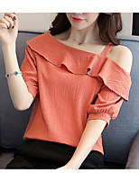 cheap -Women's Cute Blouse - Solid Colored