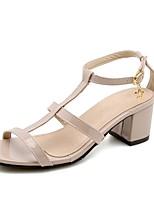 preiswerte -Damen Schuhe Kunstleder Frühling / Sommer Fersenriemen High Heels Blockabsatz Schwarz / Beige / Khaki