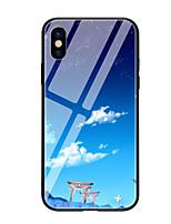 Недорогие -Кейс для Назначение Apple iPhone X iPhone 8 С узором Кейс на заднюю панель Пейзаж Твердый Закаленное стекло для iPhone X iPhone 8 Pluss