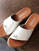 Недорогие -Жен. Обувь Лён Лето Удобная обувь Тапочки и Шлепанцы На толстом каблуке Круглый носок для Повседневные Белый Черный