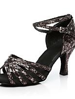 cheap -Women's Latin Sparkling Glitter Sandal Indoor Sparkling Glitter Customized Heel Gold Black Silver Red 2 - 2 3/4inch Customizable