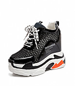 cheap -Women's Shoes Breathable Mesh PU Spring Fall Comfort Sneakers Walking Shoes Creepers Round Toe for Office & Career White Black