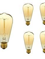 abordables -5pcs 40W E26/E27 ST64 Blanc Chaud 2200-3000k K Rétro Intensité Réglable Décorative Ampoule incandescente Edison Vintage 110-130V