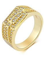cheap -Men's Band Ring Cubic Zirconia Rhinestone Gold Zircon Steel Titanium Circle Classic Vintage Elegant Wedding Daily Ceremony Costume Jewelry