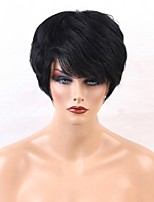 Недорогие -Человеческие волосы без парики Натуральные волосы Прямой Стрижка под мальчика Природные волосы Природа Черный Машинное плетение Парик Жен.