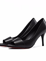 cheap -Women's Shoes Nappa Leather / Cowhide Spring / Fall Comfort / Basic Pump Heels Stiletto Heel Peep Toe Black / Silver