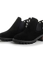 Недорогие -Жен. Обувь Нубук Весна Осень Ботильоны Ботинки На толстом каблуке Ботинки для Черный Темно-русый