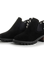 baratos -Mulheres Sapatos Pele Nobuck Primavera Outono Curta / Ankle Botas Salto Robusto Botas Curtas / Ankle para Preto Castanho Claro