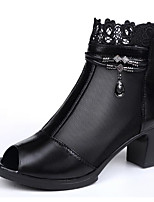 cheap -Women's Shoes Cowhide Spring Summer Comfort Boots Chunky Heel for Black