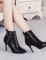 cheap -Women's Shoes PU Spring Fall Bootie Boots Stiletto Heel Booties / Ankle Boots for Black Red