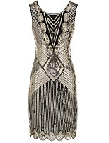 cheap -The Great Gatsby Vintage The Great Gatsby Costume Women's Dress Silver Golden Black/Red Black+Golden Vintage Cosplay Polyester Sleeveless