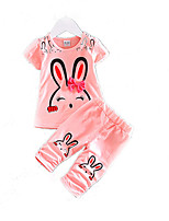 cheap -Girls' Daily Holiday Print Clothing Set, Cotton Acrylic Spring Summer Sleeveless Cute Active Blushing Pink Fuchsia