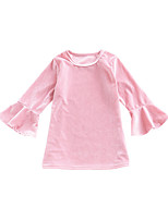 cheap -Girl's Daily Solid Colored Dress, Polyester Summer Long Sleeves Cute Blushing Pink