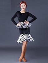 abordables -Danse latine Robes Femme Utilisation Soie Glacée Combinaison Manches Longues Robe