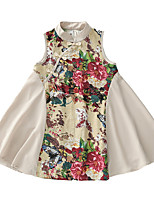 cheap -Girl's Daily Floral Dress, Polyester Summer Sleeveless Cute White