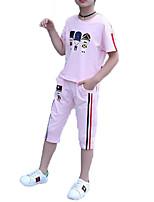 cheap -Girls' Daily Sports Print Clothing Set, Cotton Polyester Summer Short Sleeves Active Basic Blushing Pink Purple