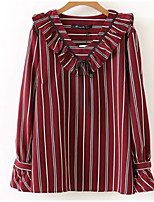 cheap -Women's Holiday Basic Blouse - Striped, Bow Ruffle V Neck