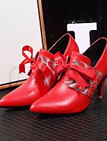 abordables -Mujer Zapatos PU Primavera / Otoño Confort / Innovador Tacones Tacón Stiletto Dedo Puntiagudo Botines / Hasta el Tobillo Negro / Rojo