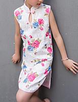 Недорогие -Девичий Платье Искусственный шёлк Цветочный принт Лето Без рукавов Шинуазери (китайский стиль) Красный Пурпурный Светло-синий