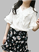 cheap -Girls' Daily Solid Colored Floral Clothing Set, Polyester Summer Short Sleeves Cute Black