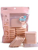 abordables -15 pcs Houppette / Eponge PORON Carré Maquillage Visage Caisse Couleur unie Portable Niveau professionnel Portable Pro Quotidien Exercice