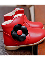 cheap -Girls' Shoes Leatherette Fall Winter Flower Girl Shoes Bootie Boots Booties / Ankle Boots for Casual Black Red Pink