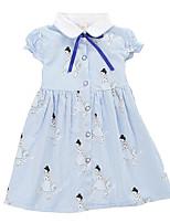 cheap -Kids Girls' Striped Geometric Short Sleeves Dress