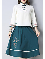 abordables -Femme Sortie Chinoiserie Coton Chemise - Fleur, Brodée Jupe Mao