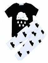 Недорогие -Универсальные Повседневные Праздники С принтом Набор одежды, Хлопок Лето С короткими рукавами Активный Черный