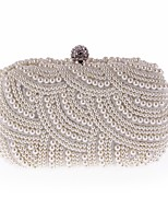 cheap -Women's Bags PU Polyester Evening Bag Crystal Detailing Pearl Detailing for Wedding Event/Party All Seasons Champagne Black Beige