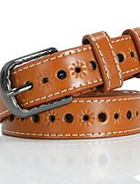 cheap -Women's Basic Leather Alloy Waist Belt Cut Out