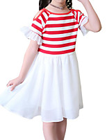 cheap -Girl's Daily Holiday Solid Colored Striped Dress, Cotton Polyester Summer Short Sleeves Cute Active Red Blushing Pink Navy Blue