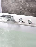baratos -Torneira de Banheira - Moderna Cromado Banheira e Chuveiro Válvula Cerâmica