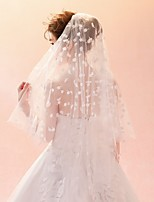 cheap -Two-tier Leaves Veil Wedding Veil Elbow Veils 53 Scattered Bead Floral Motif Style Pattern Tulle