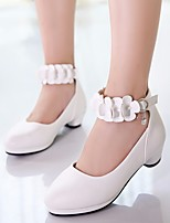 cheap -Girls' Shoes PU Spring Fall Tiny Heels for Teens Flower Girl Shoes Heels for Casual White Black Pink