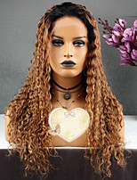 cheap -Remy Human Hair Wig Brazilian Hair Kinky Curly Curly Layered Haircut 130% Density With Baby Hair Brown Golden Short Long Mid Length