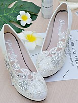 cheap -Women's Shoes Lace Leatherette Spring Fall Slingback Wedding Shoes Stiletto Heel Round Toe Rhinestone Imitation Pearl Sparkling Glitter