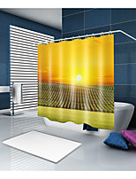 cheap -Shower Curtains & Hooks Contemporary Casual Polyester Solid Colored Contemporary Machine Made Waterproof Bathroom