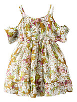 cheap -Girl's Daily Floral Dress, Polyester Summer Sleeveless Basic Yellow