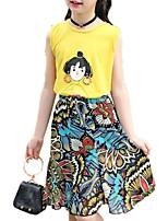 cheap -Girls' Daily Print Clothing Set, Polyester Spring Summer Sleeveless Chinoiserie Yellow Khaki