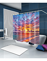 cheap -Shower Curtains & Hooks Casual Mediterranean Polyester Contemporary Novelty Machine Made Waterproof Bathroom