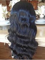 baratos -Não processado Peruca Cabelo Peruviano Ondulado Corte em Camadas 130% Densidade Com Baby Hair Riscas Naturais Preta Curto Longo