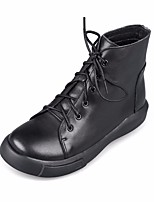 cheap -Women's Shoes Cowhide Nappa Leather Fall Winter Combat Boots Boots Low Heel Booties / Ankle Boots for Black