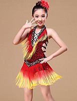 cheap -Belly Dance Latin Dance Dresses Girls' Training Performance Polyester Bandage Tassel Sleeveless Natural Dress