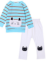 cheap -Girls' Daily Sports Striped Clothing Set, Cotton Polyester Spring Summer Long Sleeves Active Street chic Blue White